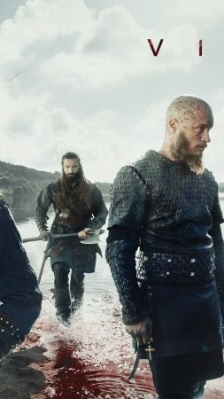 Vikings, season 5, Travis Fimmel, Katheryn Winnick, 4K (vertical)