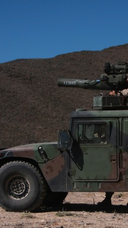 Humvee, HMMWV, SUV, rocket launch, soldier, U.S. Army (vertical)