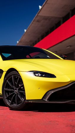 Aston Martin Vantage Lime Essence, 2019 Cars, 4K (vertical)