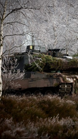 Leopard 2, 2a6m, Can, MBT, tank, German, forest, Bundeswehr, camo, winter (vertical)