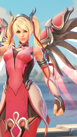 Overwatch, Mercy, Pink Mercy Skin, screenshot, 4k (vertical)