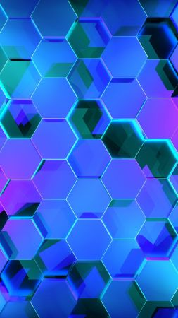 Geometry, Hexagon, Colors, 3D, 4K (vertical)