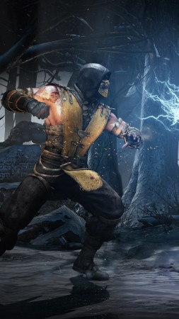 Mortal Kombat X, game, fighting, scorpion, raiden, lighting, forest, screenshot, 4k, 5k, PC, 2015 (vertical)