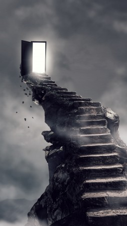 Stairs, surrealism, dark, 4K (vertical)