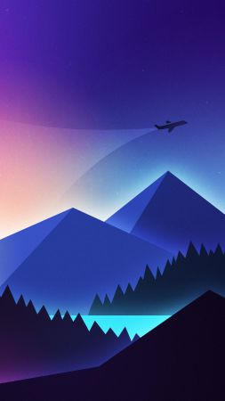 Plane, minimalism, colors, 4K (vertical)