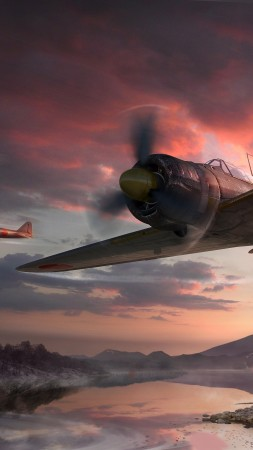 World of Warplanes, game, MMO, airplane, sakura, sunset, sky, clouds, lake, mountain, forest, screenshot, 4k, 5k, PC, 2015 (vertical)