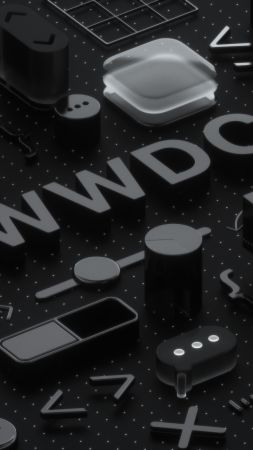 WWDC 2018, Black, 3D, 4K (vertical)