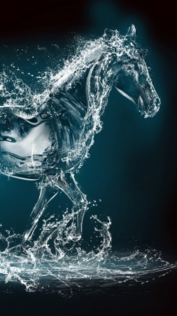 Horse, water, transparent, 10K (vertical)