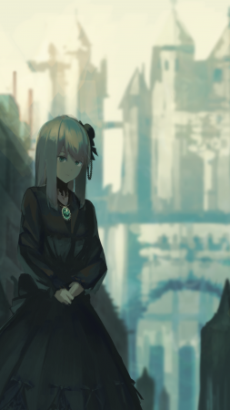 Anime, girl, castle, 4K (vertical)