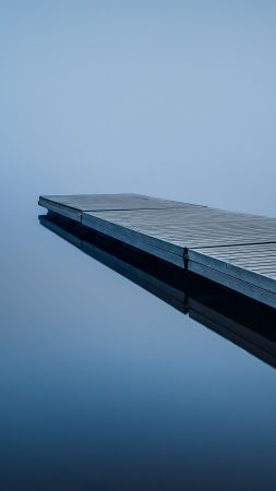 Dock, water, reflection, 4K (vertical)