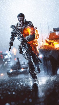 Battlefield Hardline, game, shooter, soldier, gun, fire, bokeh, tank, battleground, screenshot, 4k, 5k, PC, 2015 (vertical)