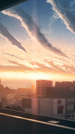 City, sunset, 4K (vertical)