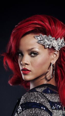 Rihanna, Singer, red, hair, 4K (vertical)