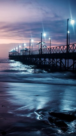 Ocean, pier, sky, night, 4K (vertical)