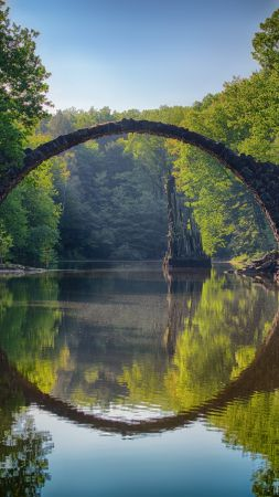 Rakotzbrücke Devil's Bridge, Germany, Europe, 5K (vertical)