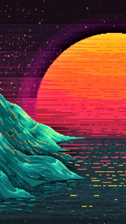Retrowave, sunset, orange, 4K (vertical)