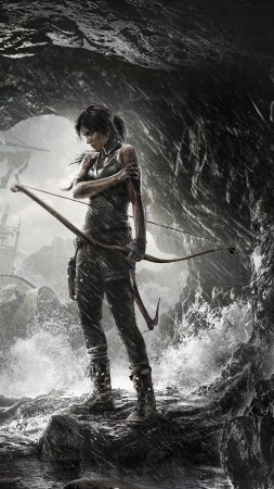 Rise of the Tomb Raider, game, cave, rain, bow, water, ship, lara croft, screenshot, , 4k, 5k, PC, 2015 (vertical)