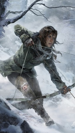 Rise of the Tomb Raider, game, forest, snow, bow, wind, screenshot, , 4k, 5k, PC, 2015 (vertical)