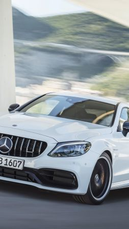 Mercedes-Benz C63 S AMG Coupe, 2019 Cars, 4K (vertical)