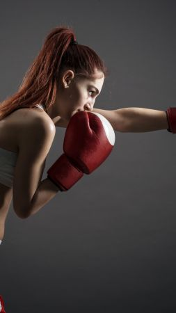 Boxing gloves, girl, boxing, 4K (vertical)