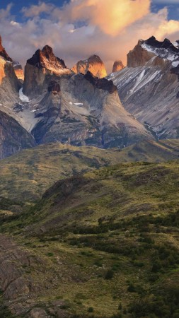 Torres del Paine, 4k, HD wallpaper, National Park, Patagonia, Chile, sunset (vertical)