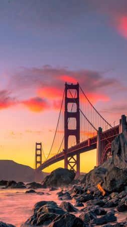Golden Gate Bridge, San Francisco, USA, autumn, 4K (vertical)