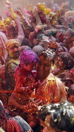 Holi Festival Of Colours, father, son, people, Indian holiday, spring, life, new moon, Holika, colored powder, event (vertical)
