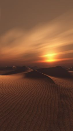 sunset, dunes, desert, sand, 5K (vertical)