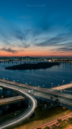 Han river, bridge, Seoul, South Korea, 5K (vertical)