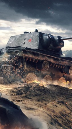 World of Tanks Blitz, game, tactic, mmo, tank, KV-1, battlefield, sparks, clouds, sky, battle, fire, screenshot, 4k, 5k, PC, 2015 (vertical)