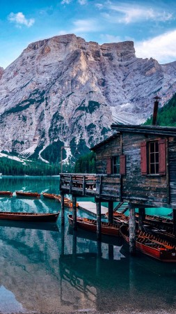 Pragser Wildsee, lake, Italy, Europe, 4K (vertical)