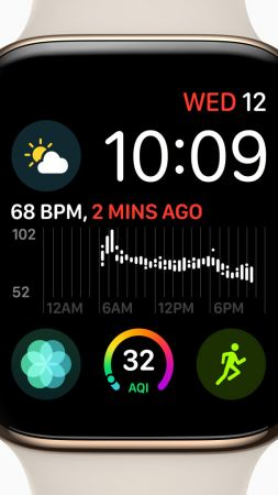 Apple Watch Series 4, gold, Apple September 2018 Event (vertical)
