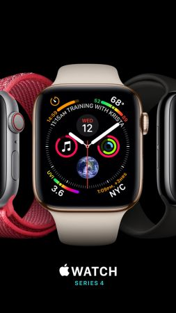 Apple Watch Series 4, silver, gold, black, Apple September 2018 Event (vertical)