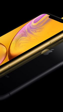 iPhone XR, gold, black, yellow, 5K, smartphone, Apple September 2018 Event (vertical)