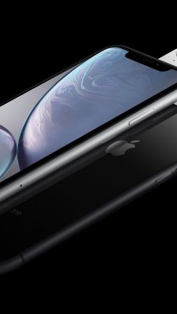 iPhone XR, white, black, 5K, smartphone, Apple September 2018 Event (vertical)