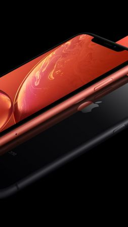 iPhone XR, coral, black, 5K, smartphone, Apple September 2018 Event (vertical)