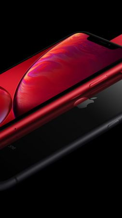 iPhone XR, red, black, 5K, smartphone, Apple September 2018 Event (vertical)
