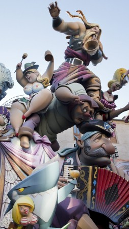 Las Fallas, holiday Valencian Community, Spain, fire, spring, burning of giant puppets, event