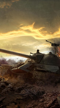 World of Tanks, game, tank, IS-7, battlefield, sky, clouds, sunset, fire, art, screenshot, 4k, 5k, PC (vertical)