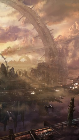Heaven, city, arch, building, space station, monster, clouds, sky, sunset, fantasy, art, future, sci-fi