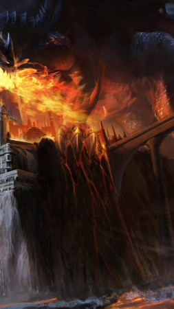 Dragon, black, fire, castle, bridge, lava, smoke, fantasy, art