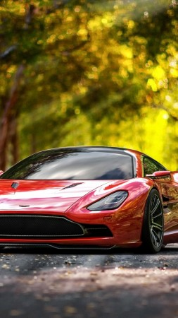 Aston Martin DBC, 4k, HD wallpaper, supercar, Aston Martin, sports car, luxury cars, concept, red, leaves, autumn (vertical)