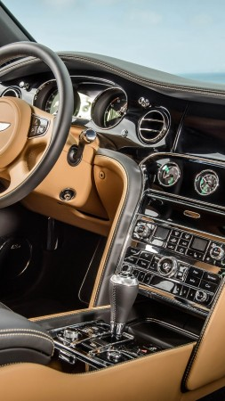 Bentley Mulsanne, interior, luxury cars, Bentley, Flying B, metallic, leather, 2015 Detroit Auto Show. NAIAS (vertical)