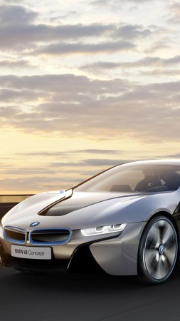 BMW i8, 4k, HD wallpaper, electric cars, MCV, carbon, luxury cars, Gran Turismo, Best Electric Cars 2015, GT, BMW, Project I, side, sunset (vertical)