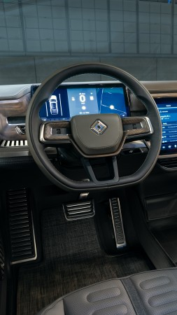 Rivian R1T, interior, SUV, electric cars, 4K (vertical)