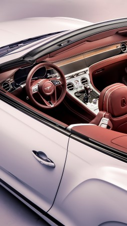 Bentley Continental GT Convertible, interior, 2019 Cars, 4K (vertical)