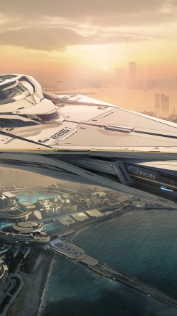 Star Citizen, matte painting, art, space ship, yacht, city, urban, futuristic, sunset