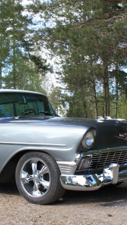 Chevrolet 210, Two-Ten, classic cars, Chevrolet, Chevy, 1956, sedan, blue, forest (vertical)