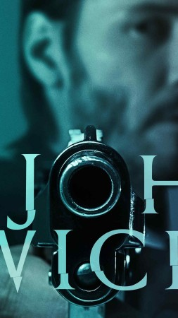 John Wick, 2015, movie, film, gun, blue, green, weapon, Keanu Reeves, Michael Nyqvist, Willem Dafoe, poster (vertical)