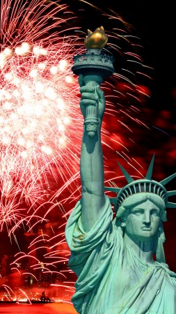 Independence Day, USA, NY, Statue of Liberty, event, fireworks (vertical)